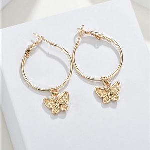 3/$30 💛 Butterfly Charm Hoop Earrings